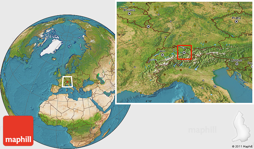 Physical Location Map Of Liechtenstein Satellite Outside - Liechtenstein map