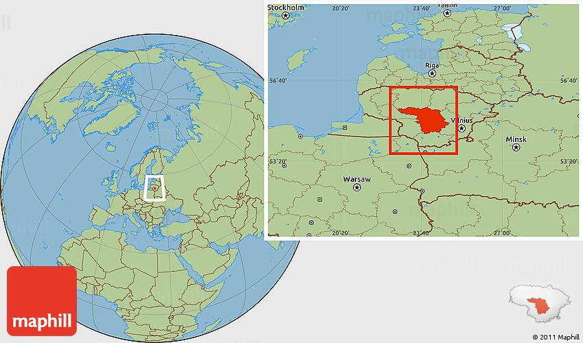 Savanna Style Location Map Of Kaunas - Kaunas map
