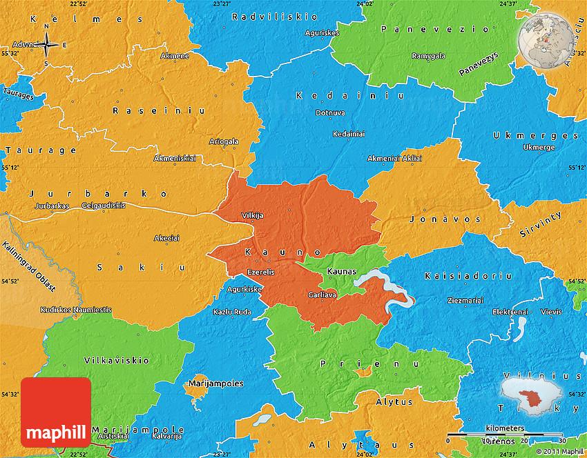 Political Map Of Kaunas - Kaunas map