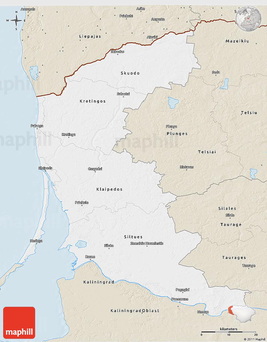 Classic Style D Map Of Klaipeda - Klaipėda map