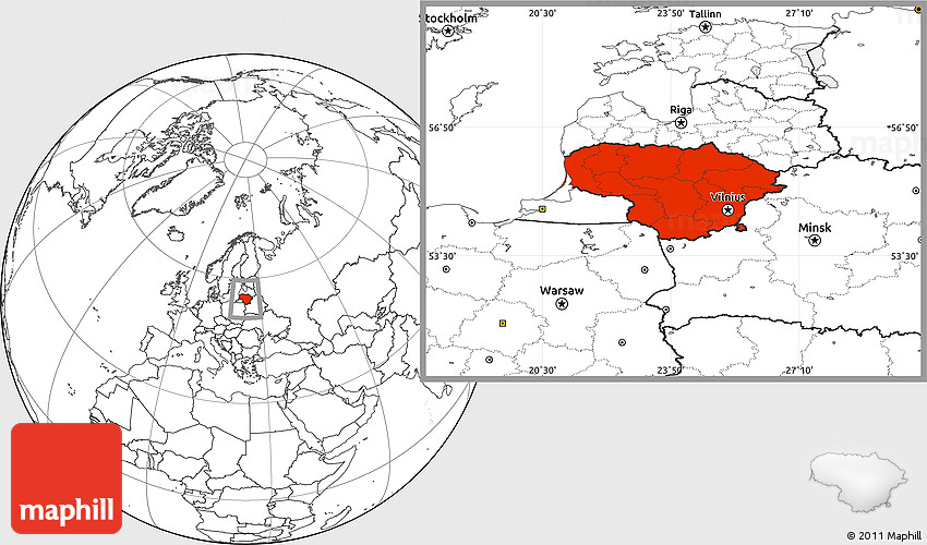 Blank Location Map of Lithuania