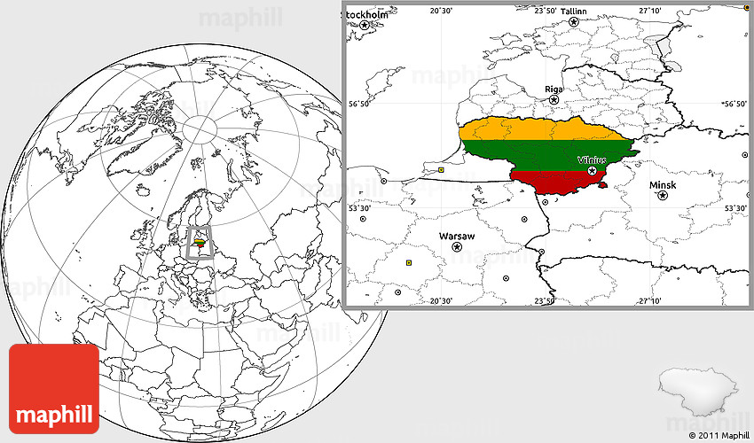 Flag Location Map of Lithuania blank outside