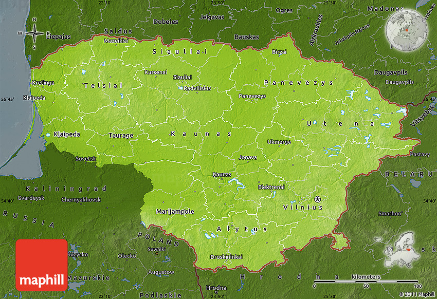 Physical Map Of Lithuania Darken - Lithuania physical map
