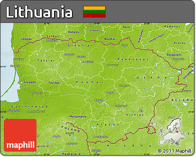Free Physical Map Of Lithuania - Lithuania physical map