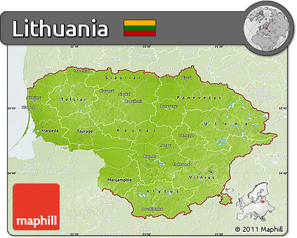 Free Physical Map Of Lithuania Lighten - Lithuania physical map