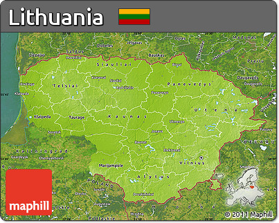 Free Physical Map Of Lithuania Satellite Outside - Lithuania physical map