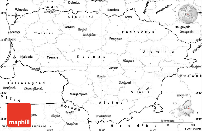 Blank Simple Map of Lithuania