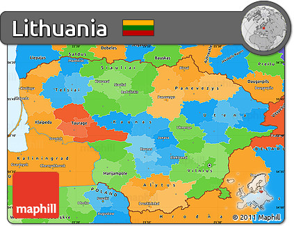 Free Political Simple Map of Lithuania