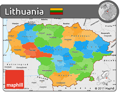 Free Political Simple Map of Lithuania single color outside