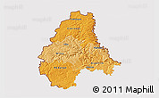 Political Shades 3D Map of Diekirch, cropped outside