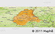 Political Shades Panoramic Map of Diekirch, physical outside