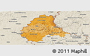 Political Shades Panoramic Map of Diekirch, shaded relief outside
