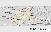 Shaded Relief Panoramic Map of Diekirch, desaturated