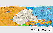 Shaded Relief Panoramic Map of Diekirch, political outside