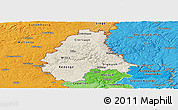 Shaded Relief Panoramic Map of Diekirch, political shades outside