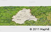 Shaded Relief Panoramic Map of Diekirch, satellite outside