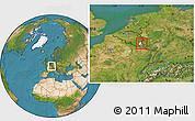 Satellite Location Map of Vianden, highlighted parent region