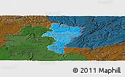 Political Shades Panoramic Map of Grevenmacher, darken