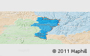 Political Shades Panoramic Map of Grevenmacher, lighten