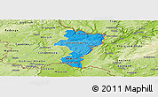 Political Shades Panoramic Map of Grevenmacher, physical outside