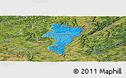 Political Shades Panoramic Map of Grevenmacher, satellite outside