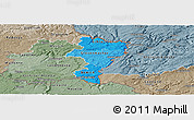 Political Shades Panoramic Map of Grevenmacher, semi-desaturated