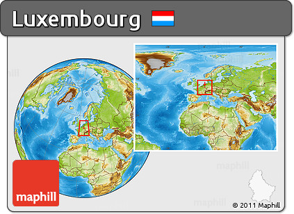 Physical Location Map of Luxembourg, within the entire continent