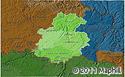 Political Shades 3D Map of Luxembourg, darken