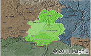 Political Shades 3D Map of Luxembourg, darken, semi-desaturated