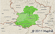 Political Shades 3D Map of Luxembourg, shaded relief outside