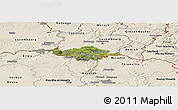 Satellite Panoramic Map of Esch-sur-Alzette, shaded relief outside