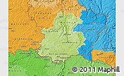 Physical Map of Luxembourg, political shades outside