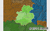 Political Shades Map of Luxembourg, darken