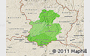 Political Shades Map of Luxembourg, shaded relief outside