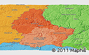 Political Shades Panoramic Map of Luxembourg