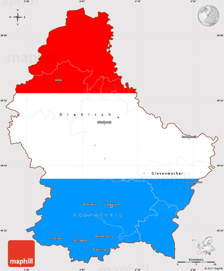 Flag Simple Map Of Luxembourg - Luxembourg map