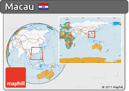 Free Political Location Map of Macau highlighted continent within