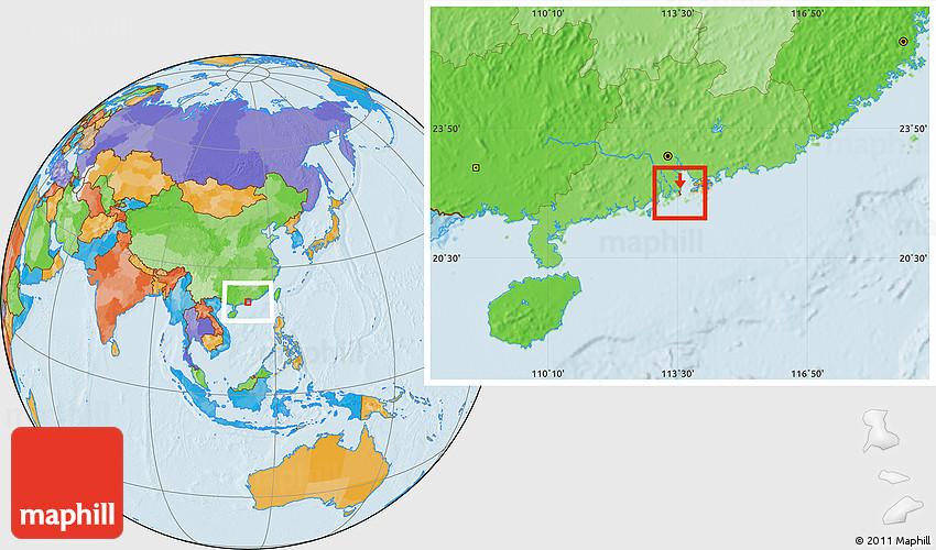 Macau On World Map.Political Location Map Of Macau