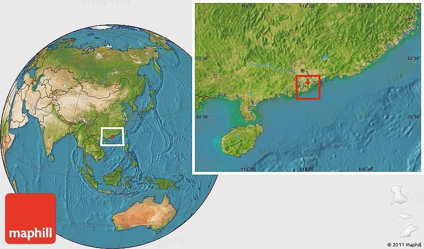 Satellite Location Map of Macau