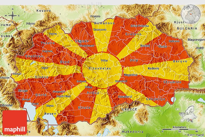 Flag 3D Map of Macedon...