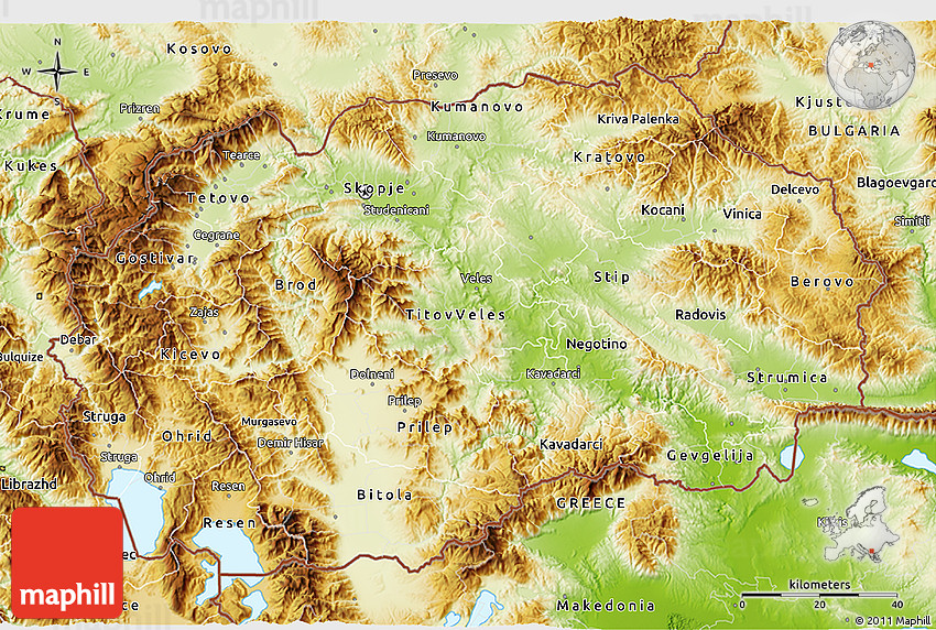 physical 3d map of macedonia