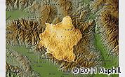 Physical Map of Berovo, darken