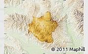 Physical Map of Berovo, lighten