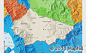 Shaded Relief Map of Bitola, political shades outside