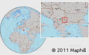 Gray Location Map of Makedonska Kamenica