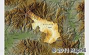 Physical Map of Delcevo, darken