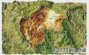 Physical 3D Map of Gostivar, satellite outside