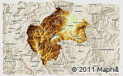 Physical 3D Map of Gostivar, shaded relief outside