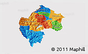 Political 3D Map of Gostivar, cropped outside