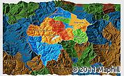 Political 3D Map of Gostivar, darken